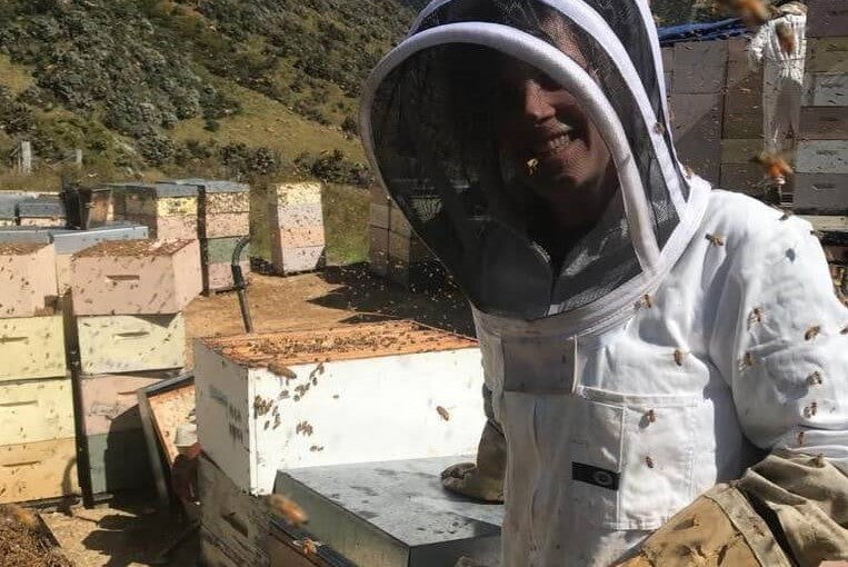 Katie the Scottish Bee Company apprentice in front of hives in New Zealand