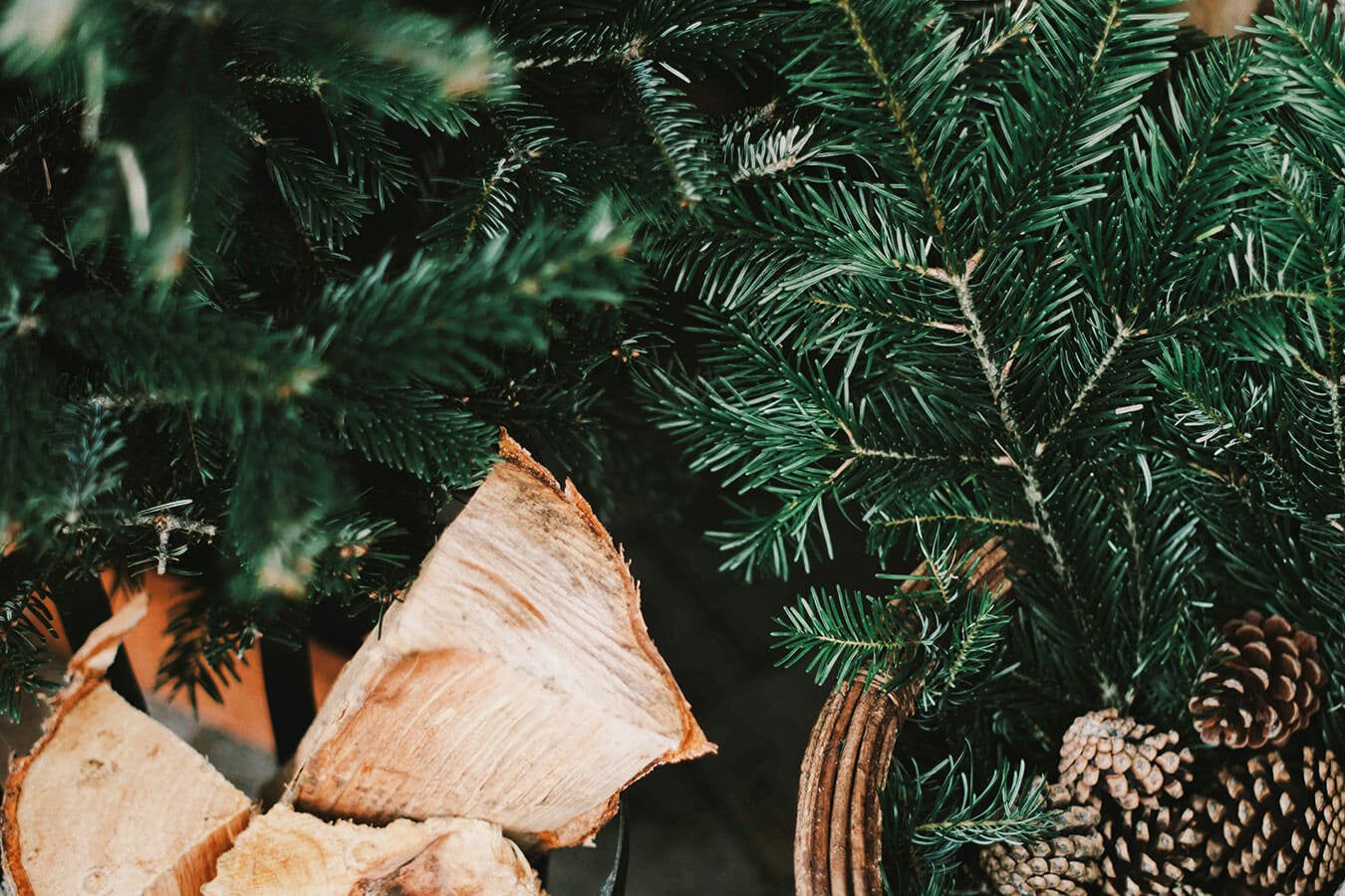 Christmas Tree, pine cones and wood for a fire