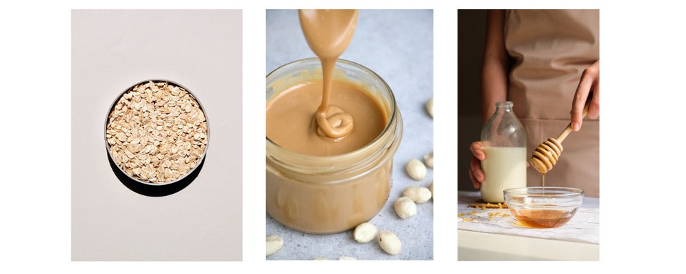 oats in a bowl, peanut butter and honey