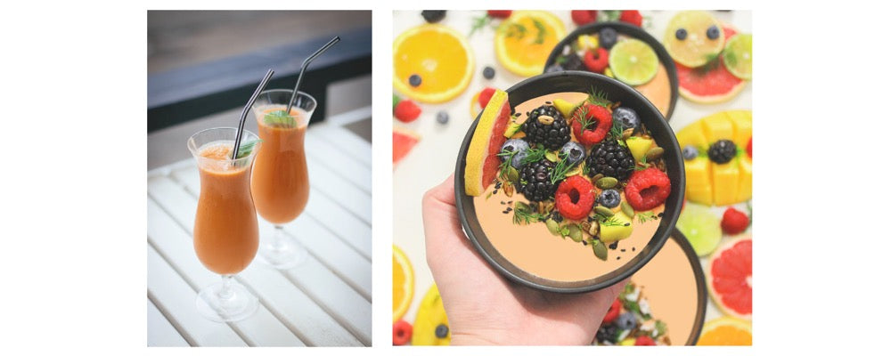 peach and orange smoothie in a glass and in a bowl