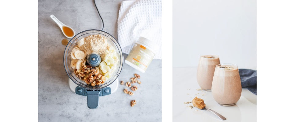 blender with peanut butter and oat smoothie ingredients and smoothie in a glass