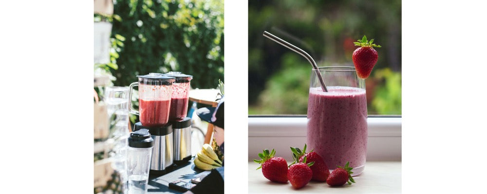 red berry smoothie in a blender and in a glass