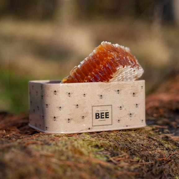 Raw honey Honeycomb in a tin