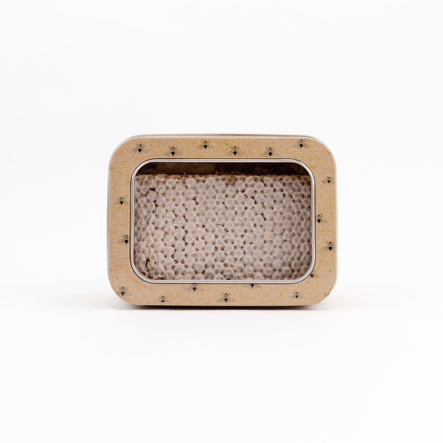 Scottish Heather raw honeycomb in a tin