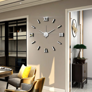 Modern Art 3D DIY Wall Sticker Clock Home Decor  Simple Useful Functioning Acrylic Mirror Wall Sticker Clock for Living Room