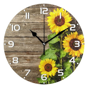 This Pretty Sunflower clock will add that special look to anyroom in your home.. add that special look and offers a quartz analogue