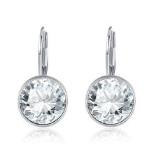 Load image into Gallery viewer, Real Gold 925 Sterling Silver Earrings With  Crystals From Swarovski Round Earrings for Women Fine Jewelry Wedding Gifts