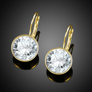 Real Gold 925 Sterling Silver Earrings With  Crystals From Swarovski Round Earrings for Women Fine Jewelry Wedding Gifts