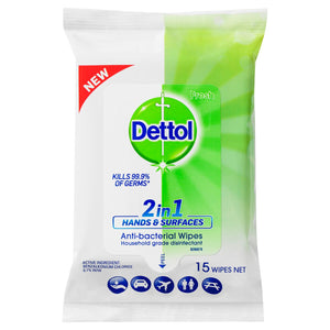 Dettol 2 in 1 Antibacterial Hands & Surfaces Wipes 15 Pack (Ships today from Australia)