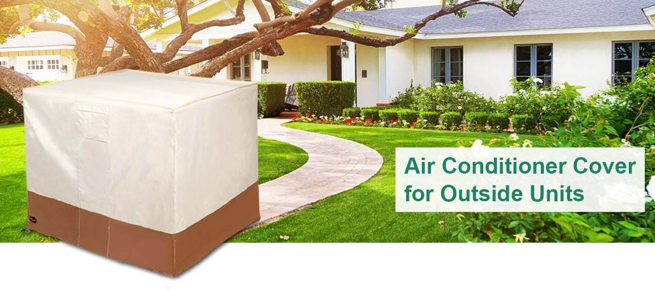 Waterproof Square A/C AC Unit Covers for Furniture Central Outdoor with Storage Bag