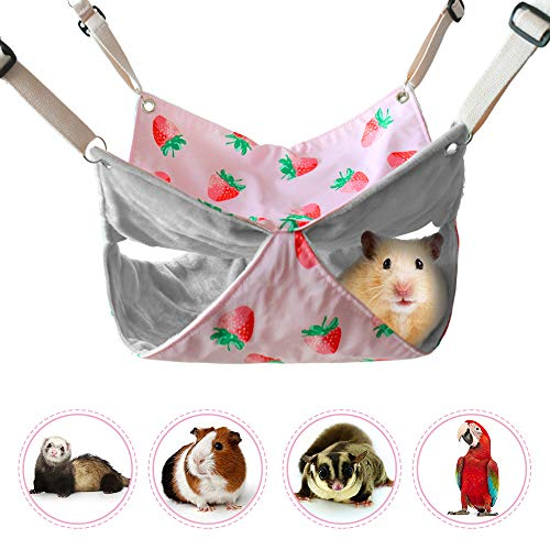 LeerKing Small Animals Cage Hammock Double Layers Coral Fleece Hideout/for/Guinea Pigs Ferrets Chinchilla Hamsters Hedgehogs Bunny Dwarf Hanging Bed