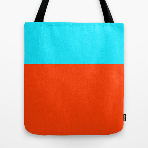 Turquoise And Orange Color Block Tote, 16x16...