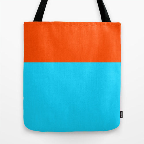 Orange And Turquoise Color Block Tote, 16x16...