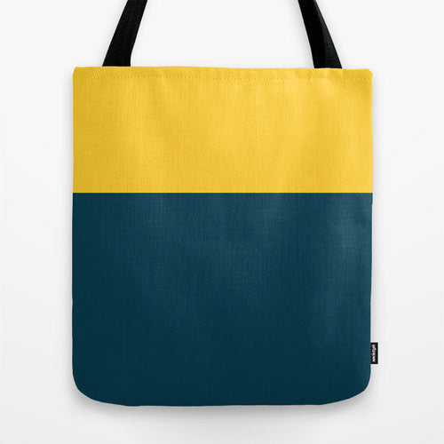 Mustard Yellow And Blue Colorblock Tote, 16x16...