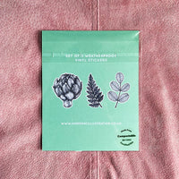 Botanical Illustration Vinyl Sticker Packs of Three