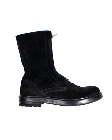 Ann Demeulemeester Dual-Front Zip Suede Lug Sole Combat Boot AW2014