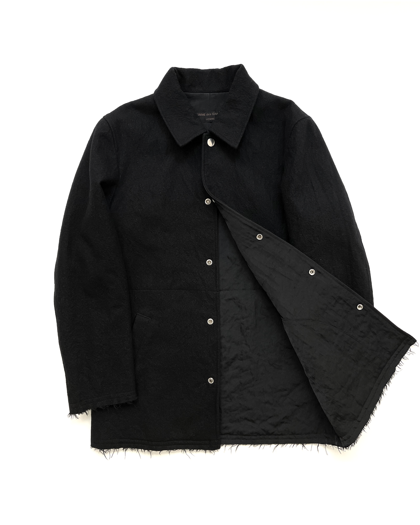 Comme des Garçons Homme Raw Edge Reversible Heavy Coat with Ballistic Nylon Interior AW2001