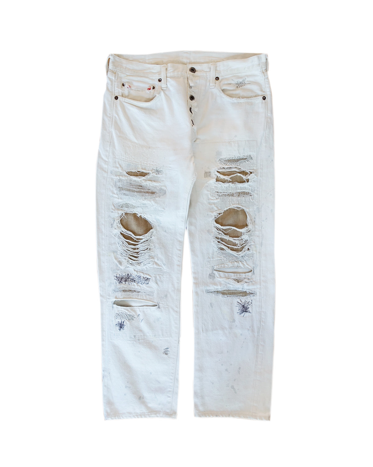 Kapital White Sashiko Repaired Denim AW2015