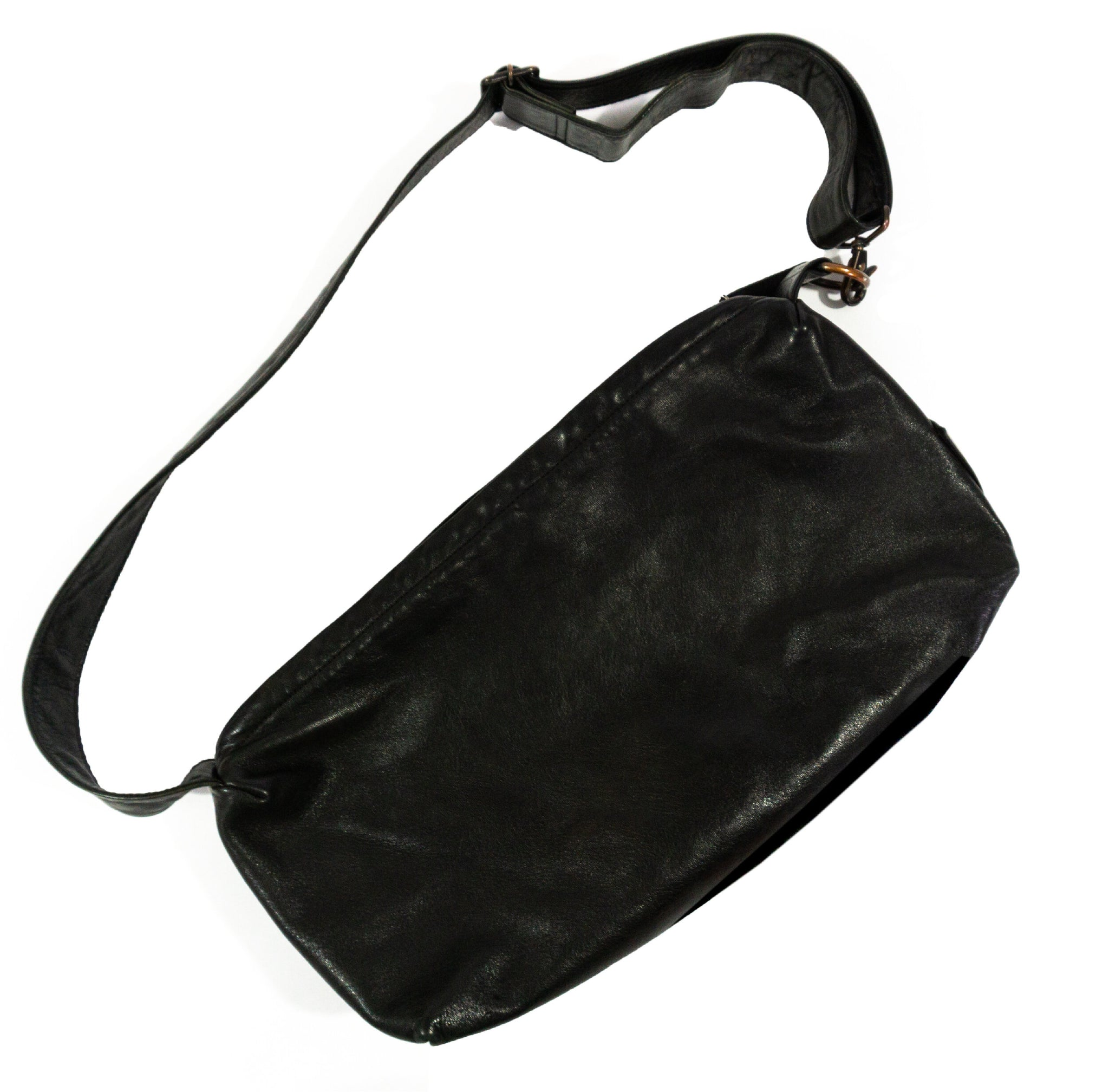 YOHJI YAMAMOTO POUR HOMME HORSE LEATHER BAG WITH ADJUSTABLE STRAP AW1998