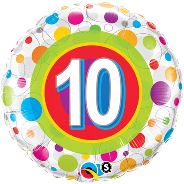 Age 10 Colourful Dots Foil Balloon - 18 inch/45 cm