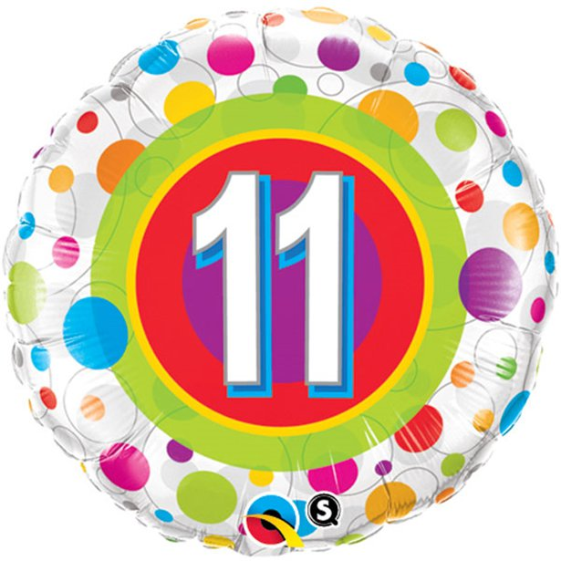 Age 11 Colourful Dots Foil Balloon - 18 inch/45 cm