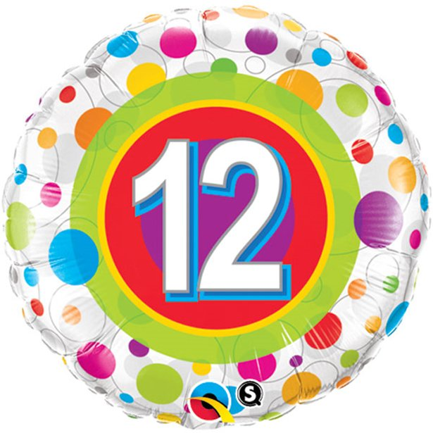 Age 12 Colourful Dots Foil Balloon - 18 inch/45 cm