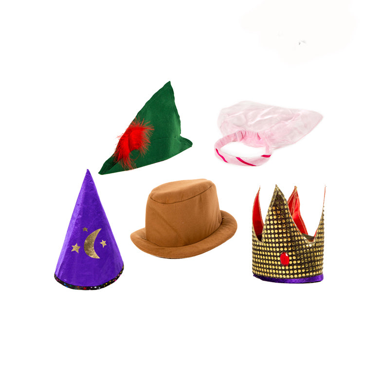 Children's Dressing Up Hats Set -Storybook Hats -Pretend Play