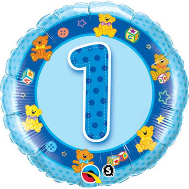 Blue Teddies 1st Birthday Foil Balloon - 18 inch/45 cm