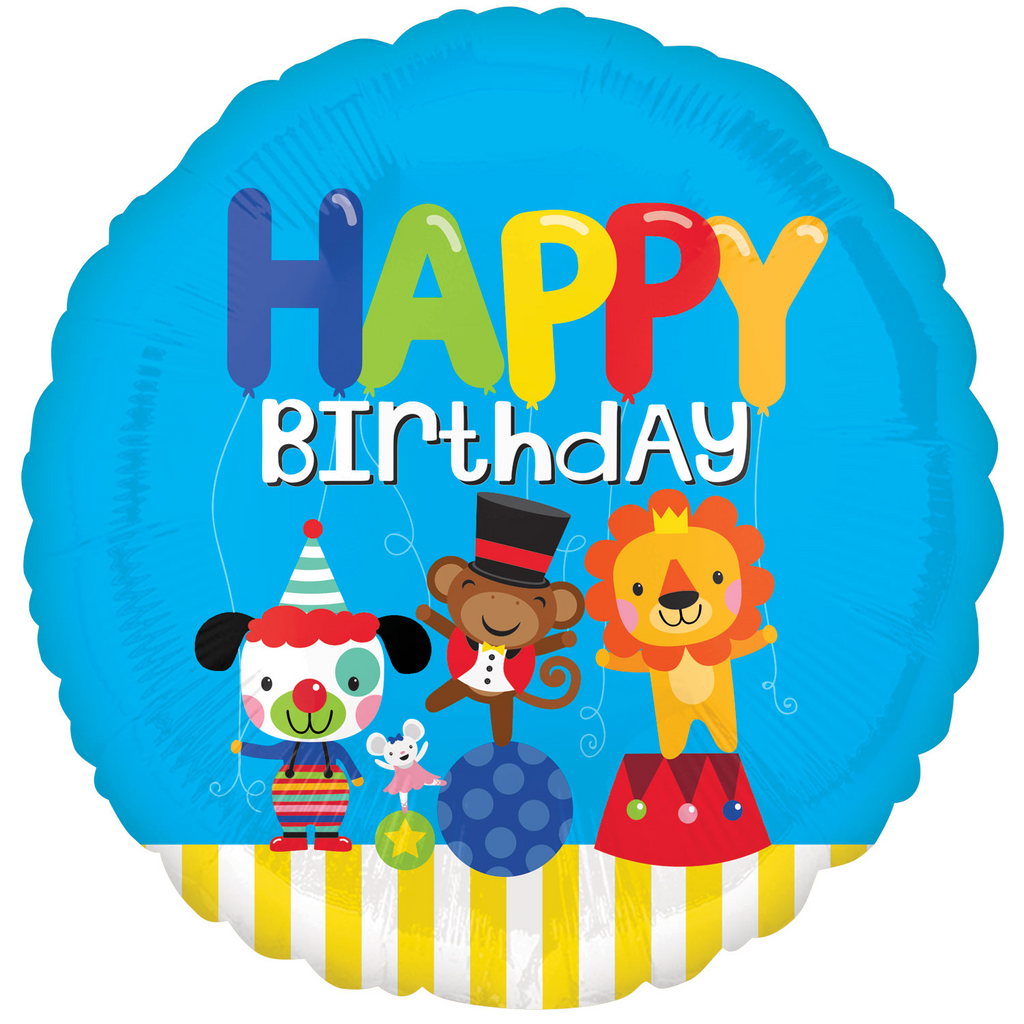 Jolly Circus Happy Brithday Foil Balloon - 18 inch/45 cm