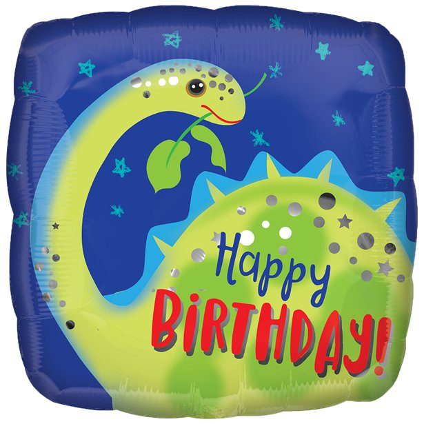 Brontosaurus Happy Birthday Foil Balloon - 18 inch/45 cm