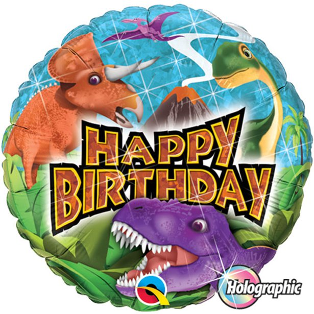 Dinosaurs Happy Birthday Foil Balloon - 18 inch/45 cm