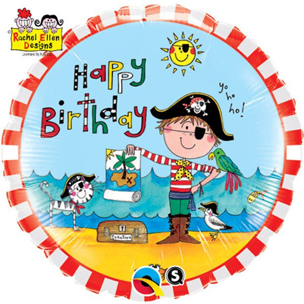 Pirate Happy Birthday Foil Balloon - 18 inch/45 cm -Rachel Ellen Design