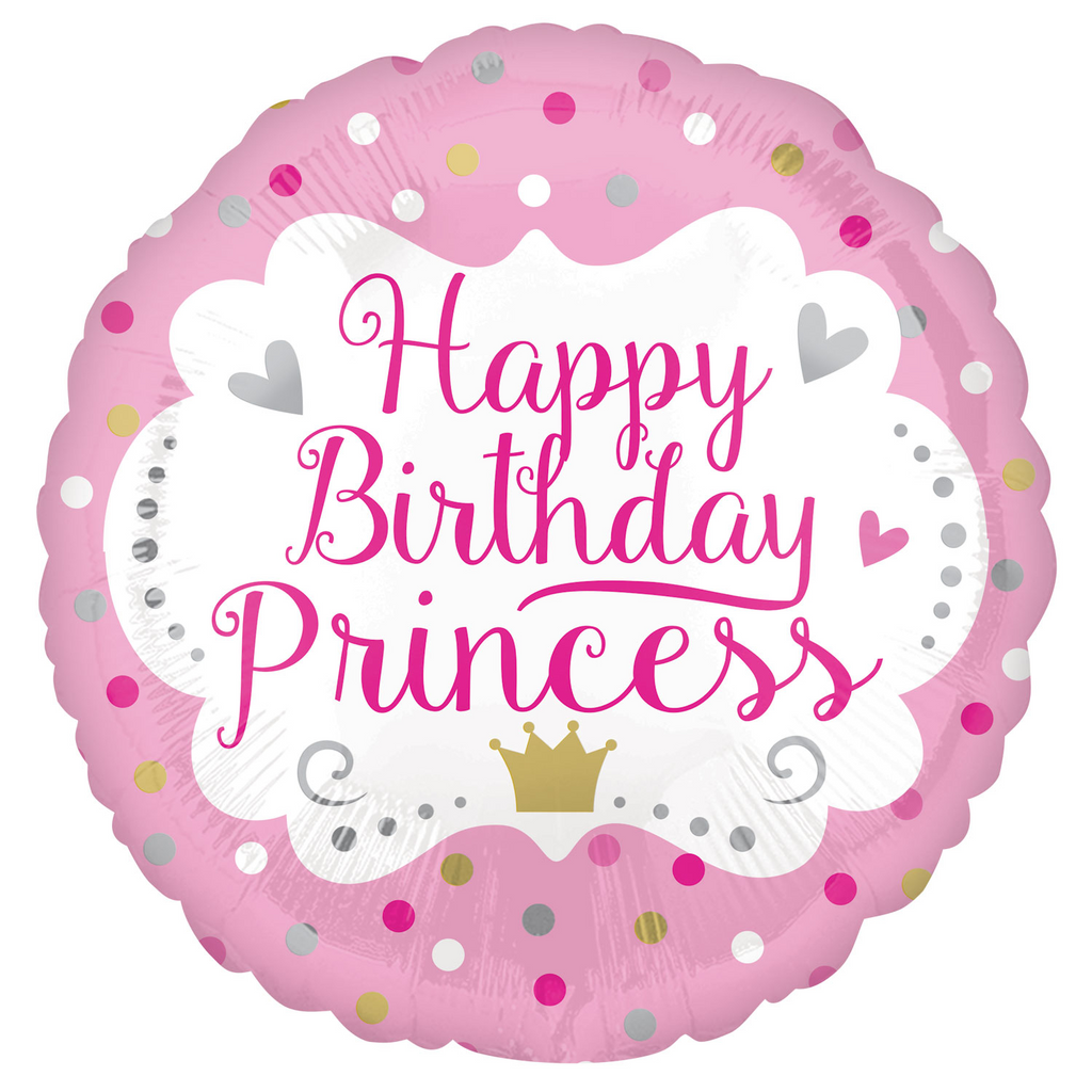 Princess Pink Happy Brithday Foil Balloon - 18 inch/45 cm