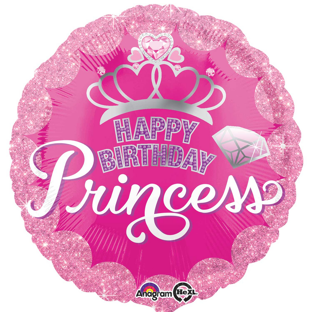 Princess Happy Brithday Foil Balloon - 18 inch/45 cm