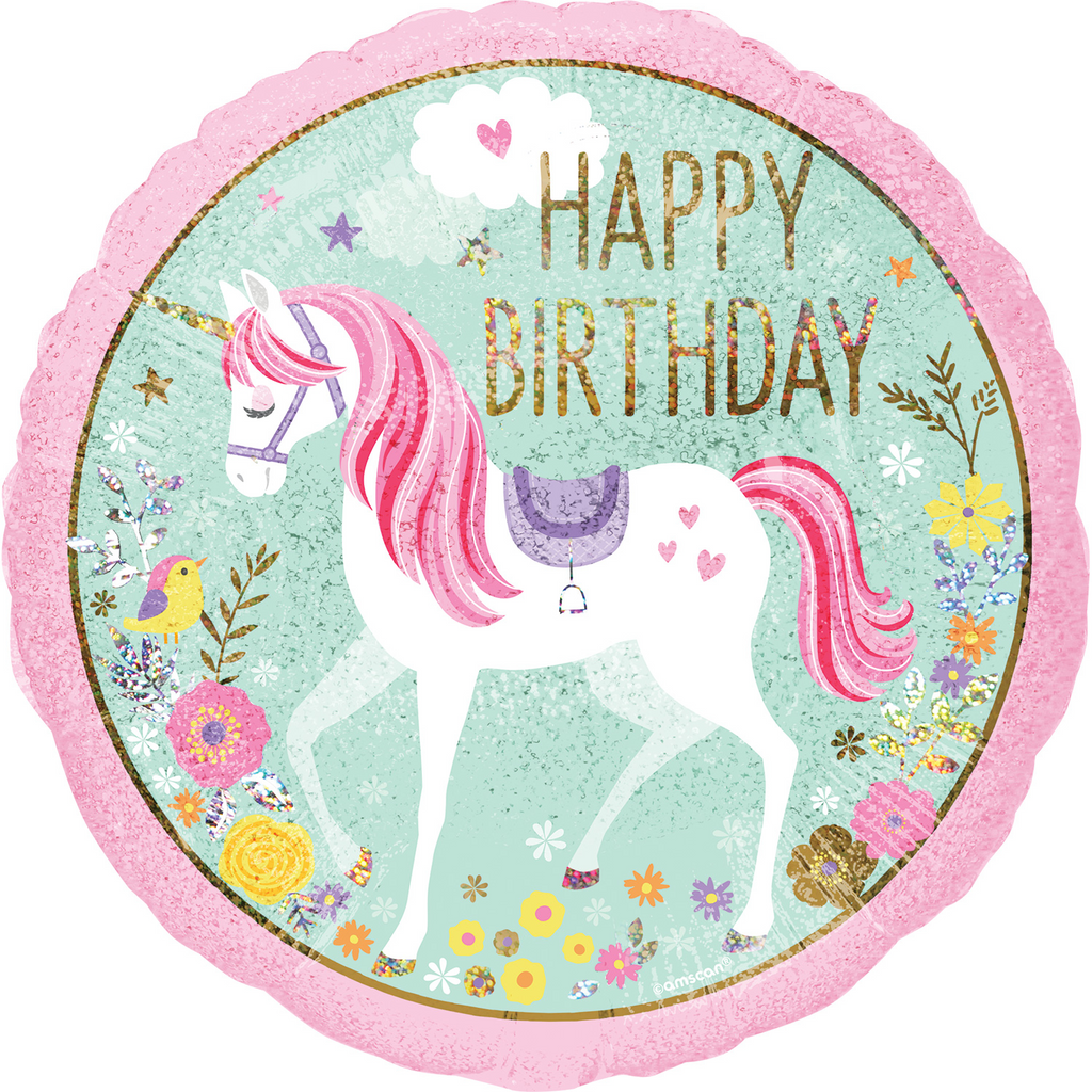 Magical Unicorn Happy Birthday Foil Balloon - 18 inch/45 cm