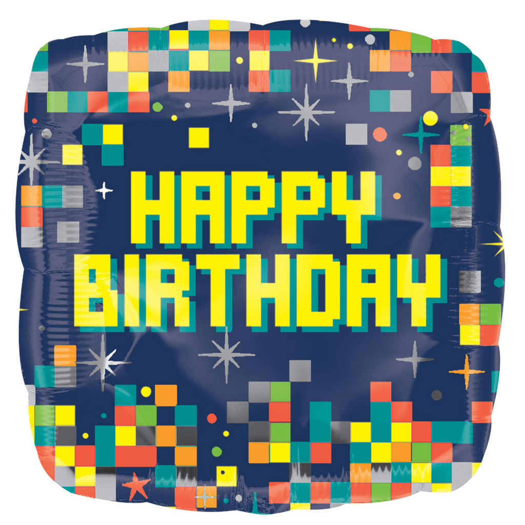 Pixelated Square Happy Birthday Foil Balloon - 18 inch/45 cm