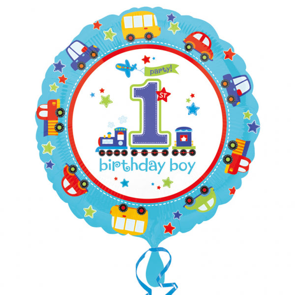 All Aboard 1st Birthday Foil Balloon-cars and trains - 18 inch/45 cm