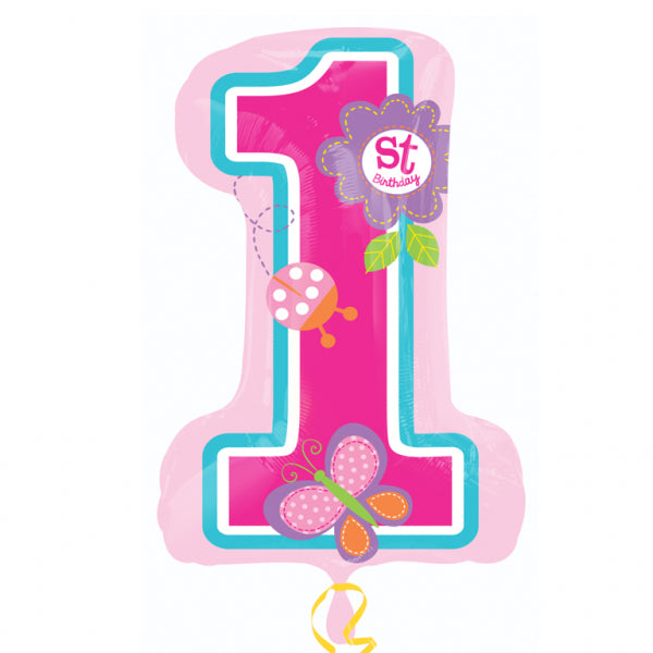 Sweet Girl 1st Birthday Supershape Foil Balloon - 28 inch/70 cm