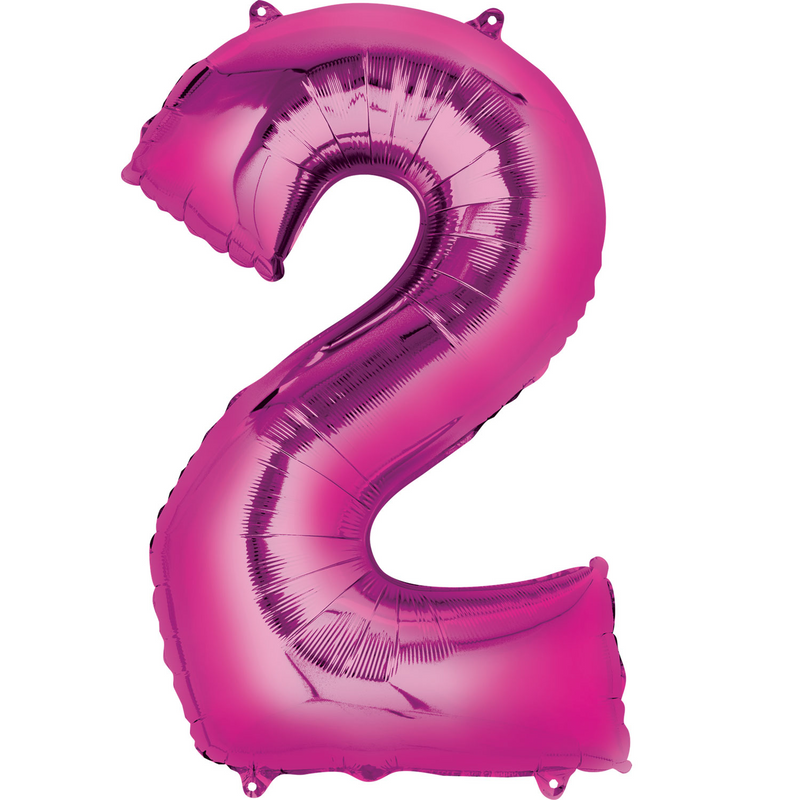 Giant Pink Foil Balloon Numbers-34 inch - Helium Filled