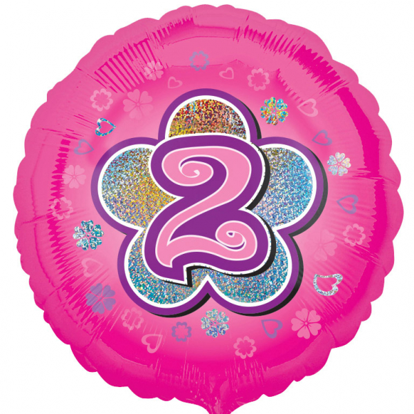 Age 2 Round Foil Balloon-Pink Flowers - 18 inch/45 cm