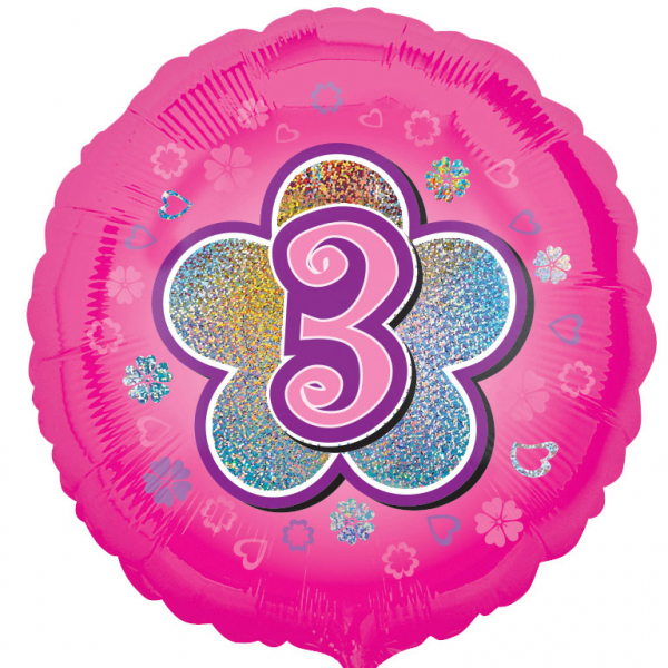 Age 3 Round Foil Balloon-Pink Flowers - 18 inch/45 cm