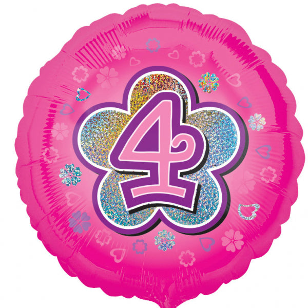 Age 4 Round Foil Balloon-Pink Flowers - 18 inch/45 cm