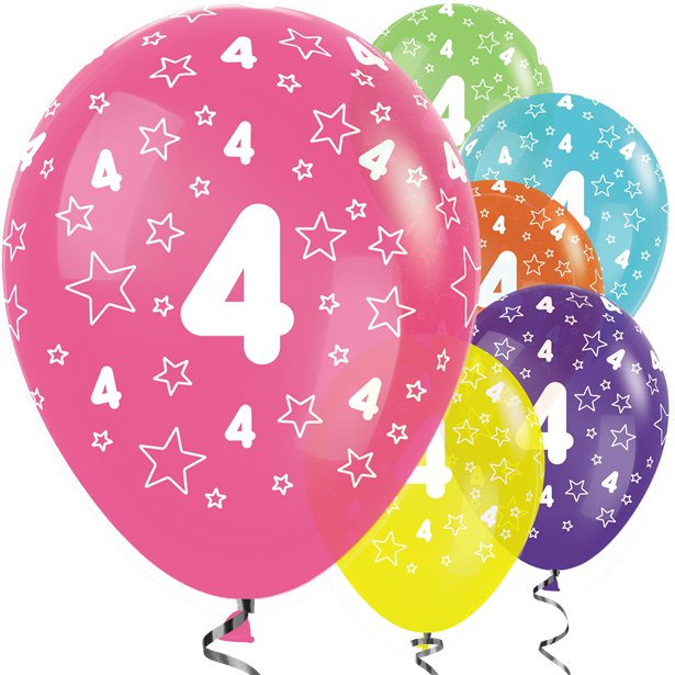 Age 4 Tropical Mix Stars - Pk 25 Assorted Birthday Balloons - 11 inch