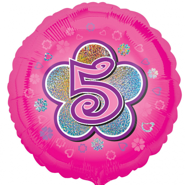 Age 5 -Round Foil Balloon-Pink Flowers - 18 inch/45 cm
