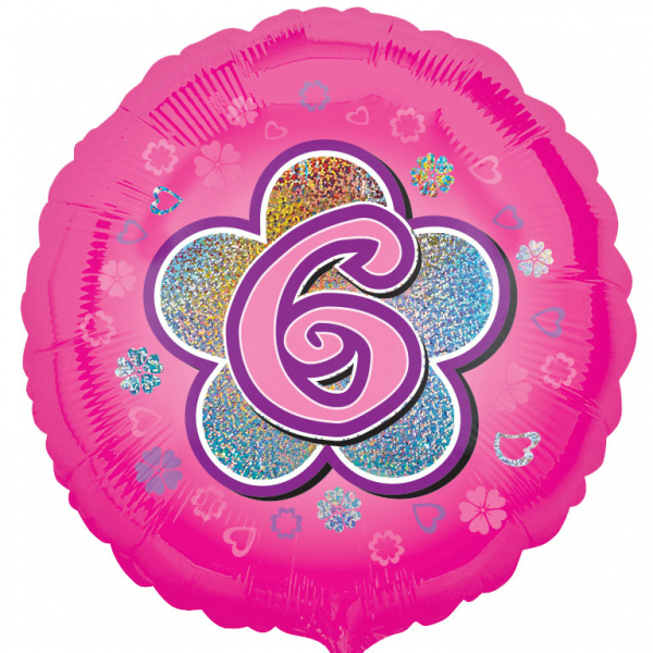 Age 6 Round Foil Balloon-Pink Flowers - 18 inch/45 cm