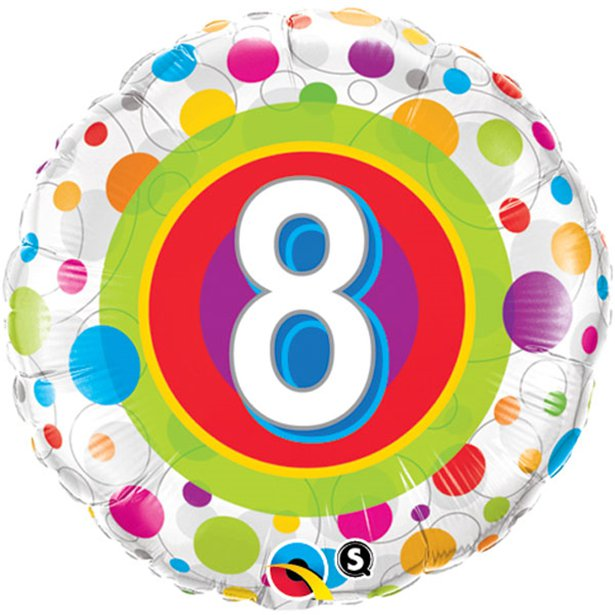 Age 8 Colourful Dots Foil Balloon - 18 inch/45 cm
