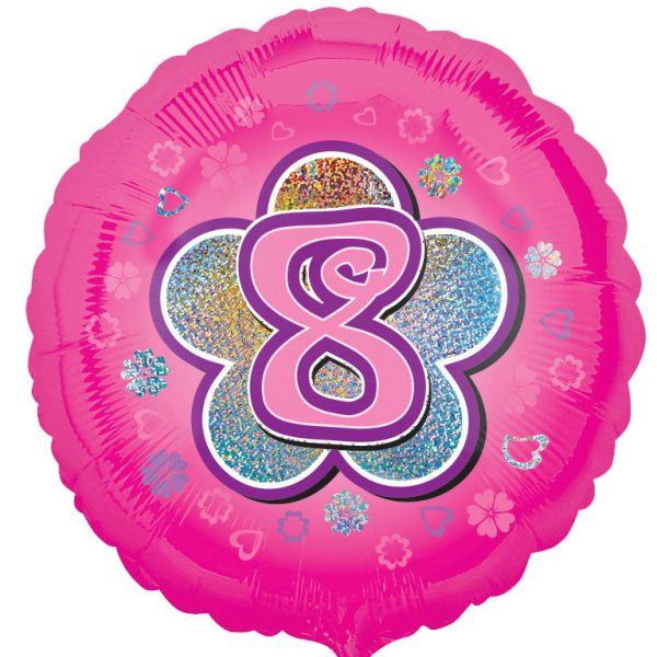 Age 8 Pink Flowers Foil Balloon - 18 inch/45 cm