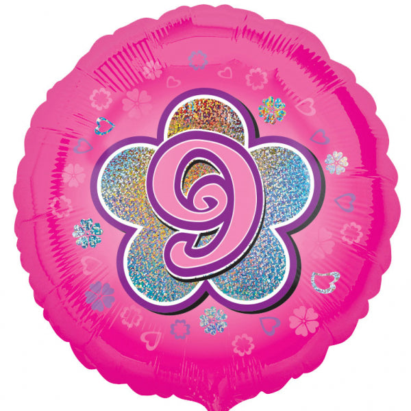 Age 9 Pink Flowers Foil Balloon - 18 inch/45 cm