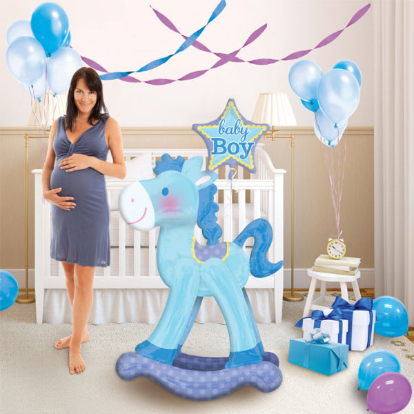 Blue Rocking Horse Baby Boy Airwalker Foil Balloon