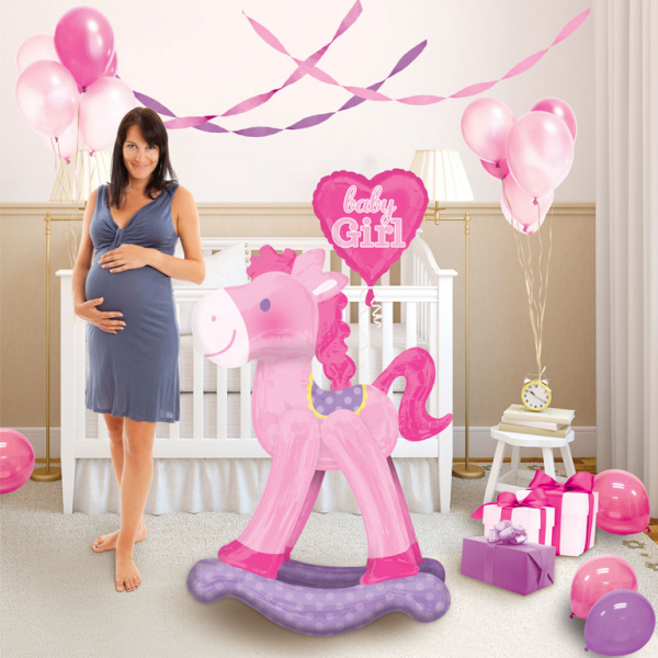 Pink Rocking Horse Baby Girl Airwalker Foil Balloon